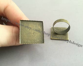 50 Pieces /Lot Antique Bronze plated Adjustable 20mm square cabochon ring blanks bezel trays (#0224)
