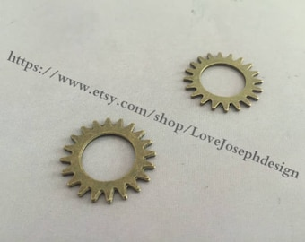 20Pieces /Lot Antique Bronze Plated 22mm Gear Connector Charms (#0228)