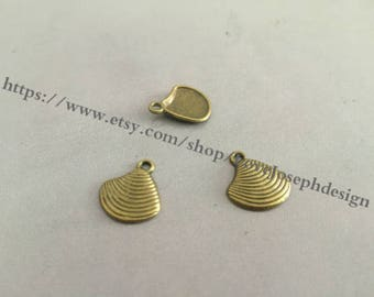 wholesale 50 Pieces /Lot Antique Bronze Plated 15mmx13mm Shell charms(#0269)