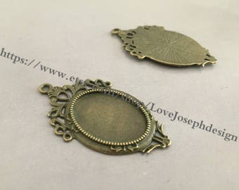 wholesale 100Pieces /Lot Antique Bronze Plated 18mmx25mm cabochon trays charms (#0476)