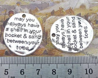 50Pieces /Lot Antique Silver Plated 50mmx17mm May You Always Have A Shell in Your Pocket and Sand Between Your Toes word charms (#0494)