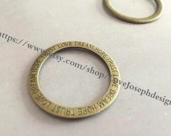 wholesale 100 Pieces /Lot Antique Bronze Plated 35mm round circle connector charms(#0543)