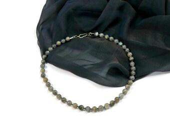 Boho Simple Chic Statement Necklace. Lavradorite & Hematite Semi Precious Stones. Minimalist Jewelry. Ideas for her.