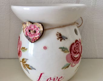 Emma Bridgewater Rose and Bee hand decorated wax burner, home decor, Mother's Day gift, wax melts,