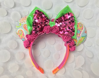 Colorful Orange Pink Mickey Minnie Ear Handband