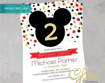 Mickey Mouse birthday invitation,digital printable pdf,Boy birthday,