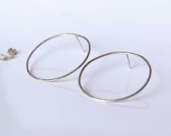 Earrings, hoop earrings, minimum, hammered effect hammered rings
