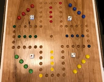 """15"""" Cherry 4 Player Aggravation Board (Wahoo) with Marbles, dice, and instructions."""