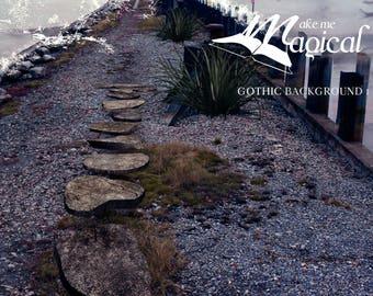 Digital Backdrop | Digital Background | Gothic Backdrop | Gothic Background | Moon | Rocks | Ocean | Stepping Stones | Jetty | Pier | Photo