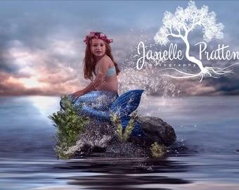 Mermaid Backdrop | Mermaid Background | Ocean Backdrop | seaside background | Photography | photo background | Photoshop | Digital Backdrop