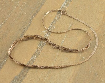 Pressed Anchor Link Braided Center Necklace Sterling Silver 8.9g