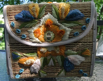 Handbag Whidby Inc... Handmade - Philippines - straw, raffia - vintage