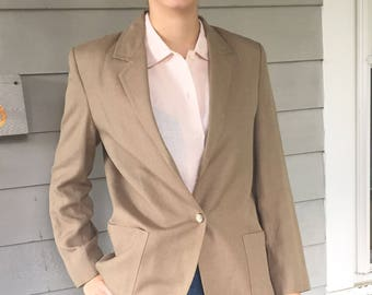 80s The Villager Classic Linen Taupe Single Button Blazer / Minimal Linen Jacket  M