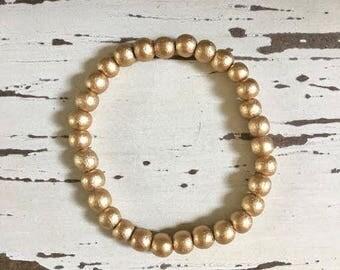 Gold Wooden 6mm Beaded Stretch Bracelet