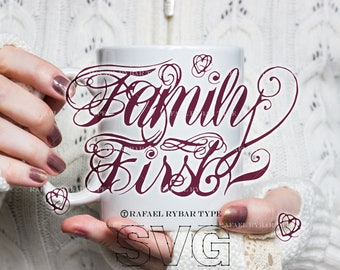 Family quote SVG files, SVG sayings, Handlettering, svg tattoo design, Family First, SVG for shirt, commercial use, download