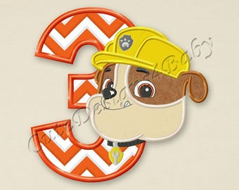 SALE! Paw Patrol Rubble Number 3 applique embroidery designs, Third birthday Machine Embroidery Designs, designs baby, Instant download #064
