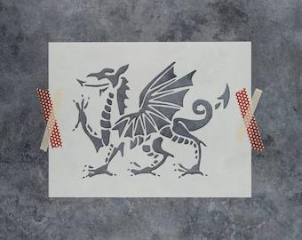 Medieval Dragon Stencil - Reusable DIY Craft Stencils of a Medieval Dragon