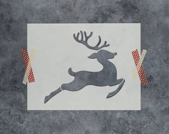 Rudolph Stencil - Reusable DIY Craft Stencil of Rudolph The Red Nosed Reindeer