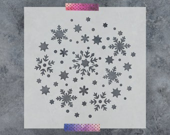Snowflake Circle Stencil - Reusable DIY Craft Stencils of Circle of Snowflakes