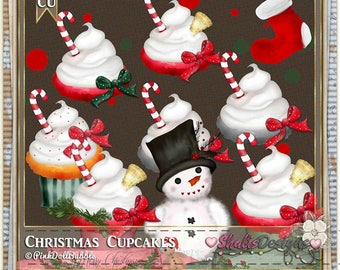 Christmas Cupcakes Clip Art:  Clipart Vector Art File, Instant Download, Cupcake Theme Digital Istant Download Shabby Chic