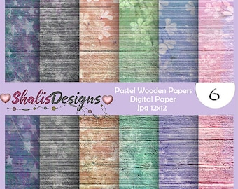 INSTANT DOWNLOAD 12x12 Cute Pastel Wooden digital paper, commercial use, scrapbook papers, background paper projects