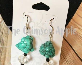 Turquoise crystal silver tone dangle earrings