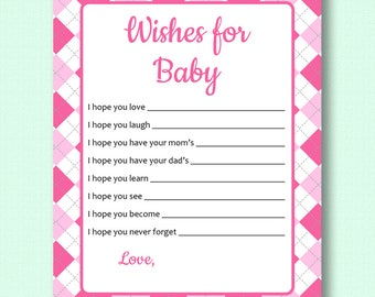Wishes for Baby - Pink Argyle - Baby Shower Printable