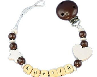 Pacifier clip personalized with name Romain ღ
