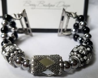 """Apple Watch Band 38mm, Apple Watch Band 42 mm, Silver and Black Beads  w/ Graphite Gray Baubles, Style """" A Touch of Gray"""""""