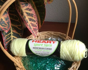"""Red Heart sport yarn in baby yellow color// a""""wintuk"""" product"""