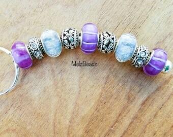 Murano bead keychain-womens keychain-keychains for women-beaded keychains-large bead keychain-glass bead keychain-european bead keychain