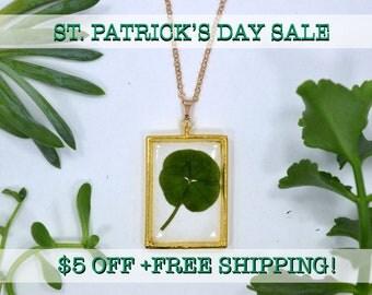 "SALE! Genuine 5 Leaf Clover Rectangle Necklace [AC 014] /Rose Gold Tone 18"" Necklace / White Clover Pendant/Triforium Repens/Good Luck Charm"