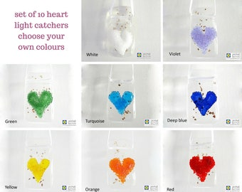 Set of ten glittering heart light catchers - choose your own colours, fused glass set, window art, wall art, fireplace, pick your own colors