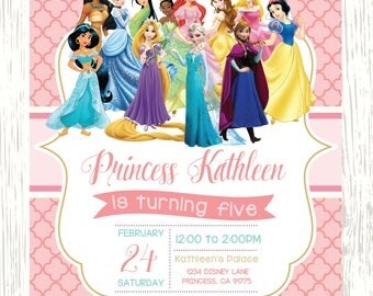 Disney Princess invitation, Princess Birthday Invitation, Disney Princess Invite, Princess Printables, princess, glitter princess invitation