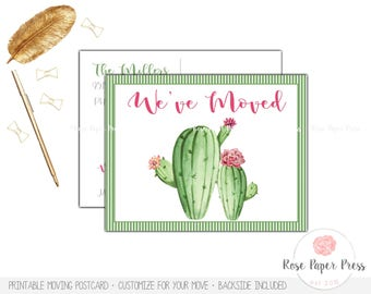 Cactus Moving Announcement   Cactus Moving Postcard   Printed or Printable Postcard   Moving Cards   New Home Postcard   We Moved Postcard