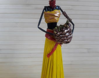 SALE Summer party African figurines  African woman statue African American Art  African woman with basket