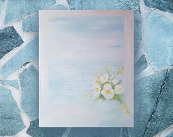 Original oil painting Sea wall art flowers white flowers painting relax painting oil on canvas oil painting gift oil on canvas seascape
