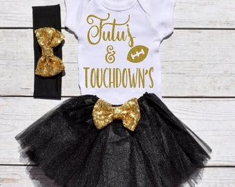 Tutu's and Touchdown's. Girls Football Tutu Outfit. Football Outfit. T19 FBL (BLACK)