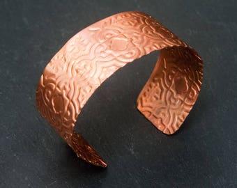 copper cuff, copper bracelet, copper cuff bracelet, handmade cuff, copper jewelry, embossed bracelet, embossed cuff, copper