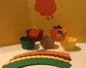 THANKSGIVING CUPCAKE WRAPPERS - Turkey and Fall Leaves - Handmade  In Fall Colors Card Stock - Sets of 12, 24 and 36.