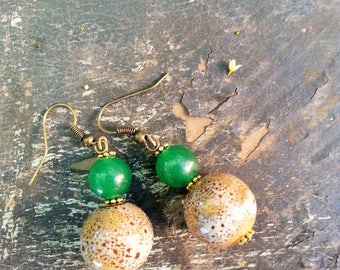 Bohemian Aventurine and Ceramic Earrings, Kelly Green Aventurine and Taupe Ceramic Earrings, Earthy Round Taupe Ceramic Earrings,