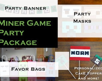 MINER GAME PARTY Package - 103 pc. Party pack for 12 kids - Custom birthday banner, Masks, Favor bags, Cake toppers, balloons, and more!