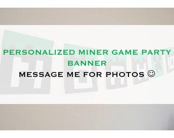 MINER GAME PARTY Banner - Felt Miner game birthday banner, Miner game party decor, Personalized party banner, Miner game birthday