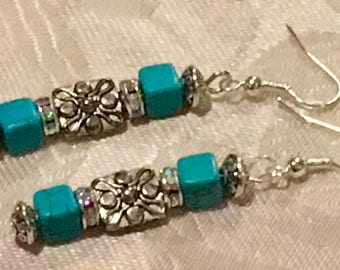 Silver and turquoise-blue earrings