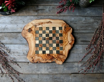 Chessboard, chess set, wooden chessboard, wood chessboard, christmas gift, olive wood, gift for her, gift for him, wooden board, wooden game