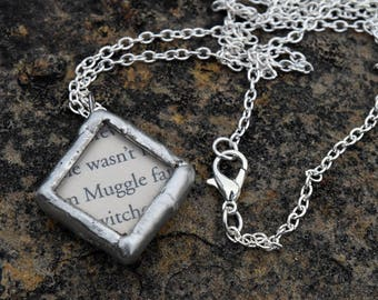Harry Potter Upcycled Book Pages Solder and Glass Necklace - Muggle/wizards