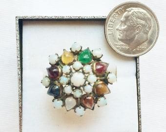 Estate 14k Gold Vintage Genuine Gemstone Opal Harem Princess Dinner Cocktail Ring 4.2g sz 6-1/4 Big Statement Tiered Thailand 14 k kt 14kt