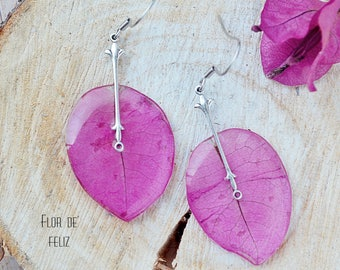 Pink bougainvillea earrings Terrarium jewelry  Resin flower jewelry Pink drop earrings  Real flower earrings  Pink silver earrings