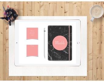 Digital planner with hyperlinks Black Marble INSTANT DOWNLOAD