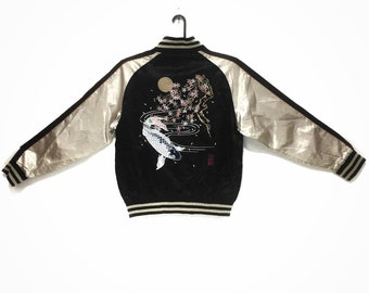 Sukajan JAPANESE TRADITIONAL Koi Fish And Flower Embroidery Souvenir Jacket M